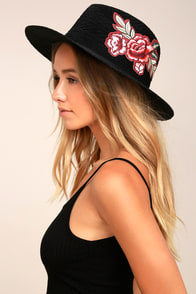 Floral Fiesta Black Embroidered Straw Fedora Hat