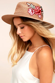 Floral Fiesta Brown Embroidered Straw Fedora Hat