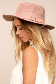 Top It Off Blush Pink Suede Fedora Hat