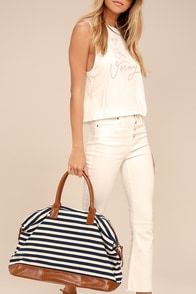 Jet Setter Cream and Navy Blue Striped Weekender Bag