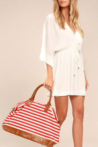 Jet Setter Cream and Red Striped Weekender Bag