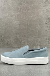 Steve Madden Gills Light Blue Suede Leather Slip-On Sneakers