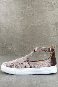 Anna Mauve Velvet T-Strap Sneakers