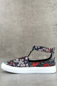 Anna Navy Multi Brocade T-Strap Sneakers