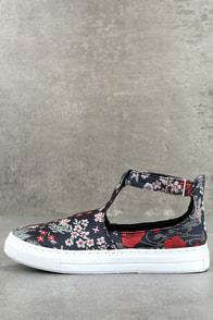 Anna Navy Multi Brocade T-Strap Sneakers