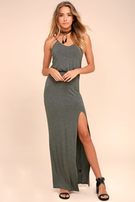 Watch the Sunset Dark Grey Maxi Dress