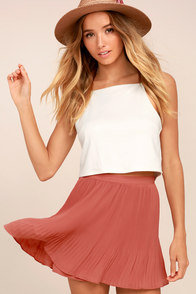 Next to Me Rusty Rose Pleated Mini Skirt