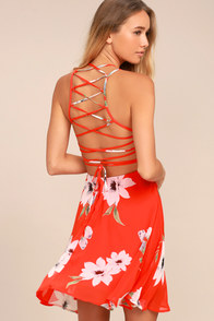 Happy Together Coral Red Floral Print Lace-Up Dress