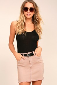 Pop and Lock Light Brown Denim Mini Skirt