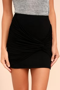 Lingering Words Black Bodycon Skirt