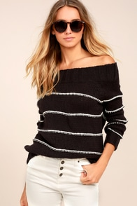 Billabong Snuggle Down Washed Black Striped Sweater