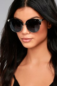 Romantic Reason Silver and Black Sunglasses