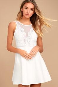 I Promise White Lace Skater Dress