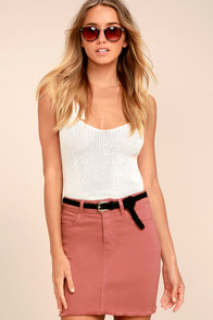 Pop and Lock Rusty Rose Denim Mini Skirt