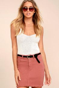 Pop and Lock Rusty Rose Denim Mini Skirt