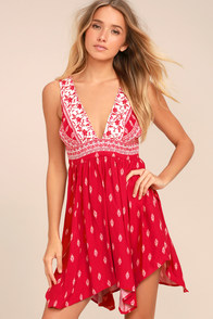 Wildwood Red Print Lace-Up Dress