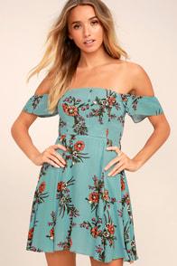 One Sweet Day Light Blue Floral Print Off-the-Shoulder Dress