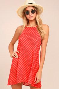 Abracadabra Red Print Shift Dress