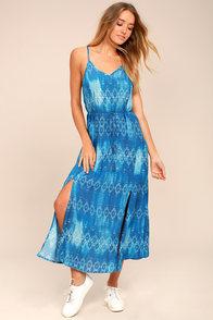 Young Sol Blue Print Midi Dress
