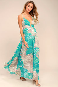 Sea Glass Turquoise Print Backless Maxi Dress