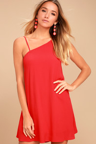 Nights in Paradise Coral Red Swing Dress