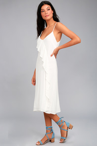 Honeymoon Breeze White Midi Dress