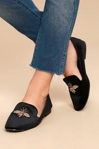 Beatrice Black Velvet Embroidered Loafers