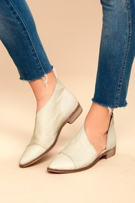 Free People Royale White Leather D'Orsay Pointed Toe Booties