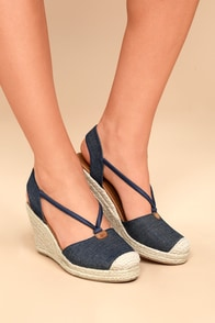 Lillou Blue Denim Espadrille Wedges