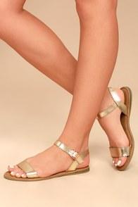 Sasha Gold Flat Sandals