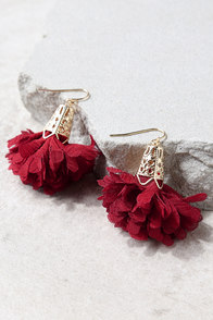 Rose Water Rust Red Earrings