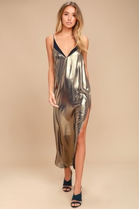 Free People Anytime Shine Gold Slip Dress