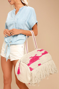 Beach Baby Beige and Pink Woven Tote Bag
