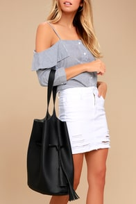 Posh Appeal Black Bucket Bag