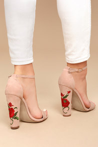Adela Nude Suede Embroidered Ankle Strap Heels