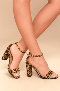 Presley Leopard Suede Ankle Strap Heels