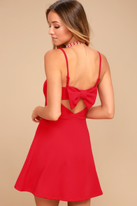 Get to Bow Me Red Skater Dress