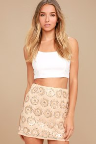 Sunset Celebration Beige Sequin Mini Skirt