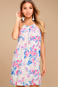 Lucy Love Late Night Dinner Light Grey Floral Print Dress