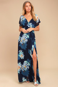 On the Pond Navy Blue Floral Print Maxi Dress