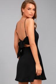 Yours Forever Black Backless Skater Dress