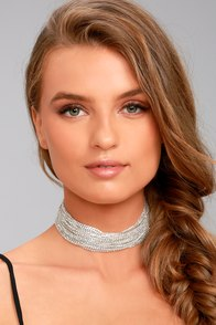 Glitz on the Rocks Silver Rhinestone Choker Necklace