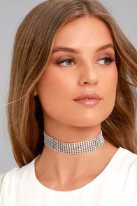 Shine Life Silver Rhinestone Choker Necklace