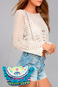 Party in Paradise Blue Embroidered Pompom Clutch