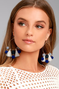 Exploration Gold and Blue Hoop Earrings