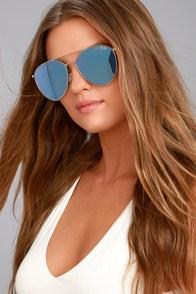 Quay Indio Silver and Blue Aviator Sunglasses