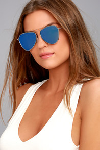 Keep Dancing Silver and Blue Mirrored Aviator Sunglasses
