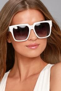Perverse Buh Bye Paparazzi White Sunglasses