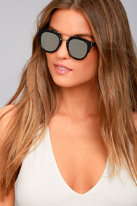 Trooper Black and Silver Mirrored Sunglasses