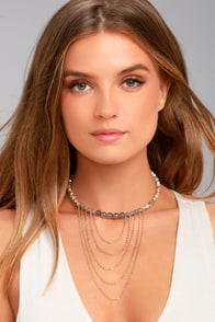 Exotic Treasures Gold and Grey Beaded Choker Necklace